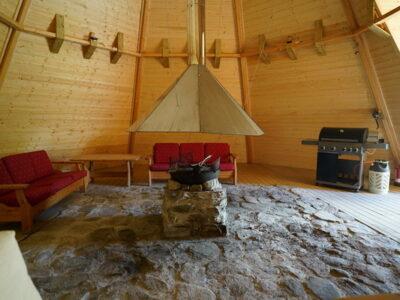 offentlig lavvo, fellesrom i Dagali Fjellpark