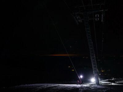 evening sledding, evening fun on slope