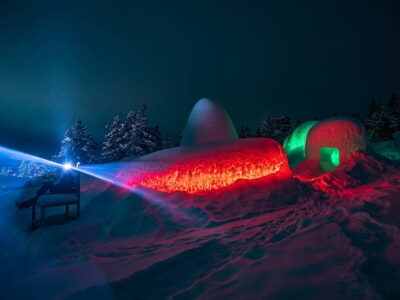 Look inside the ice igloo with a specific trait of light conductivity.